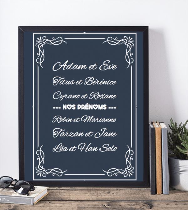 Affiche personnalisee prenoms amoureux