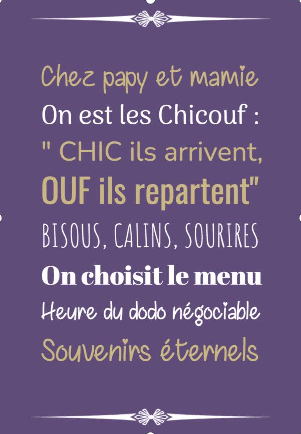 """tableau ou poster personnalisé """"chez papy et mamie"""" -Les chicouf"""