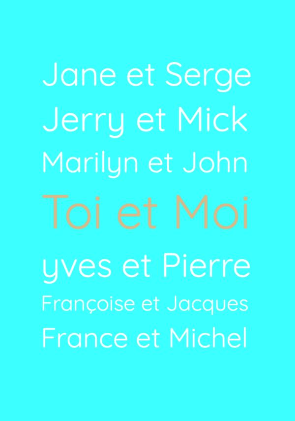 """tableau ou poster personnalisé """" prénoms amoureux célèbres"""""""