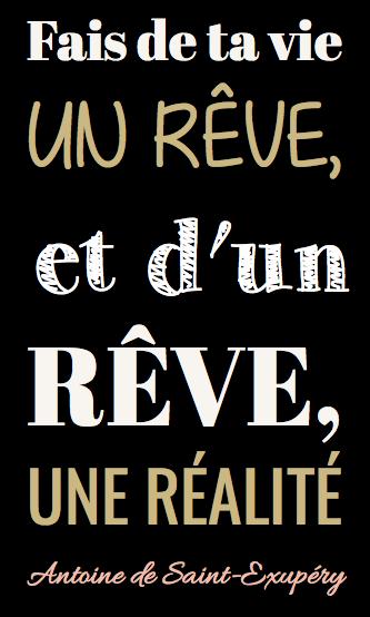 """tableau ou poster personnalisé citation """"fais de ta vie"""" Antoine de Saint Exupéry"""