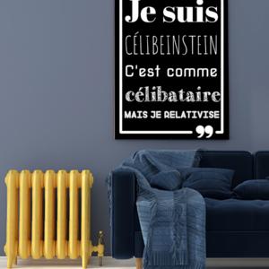 """tableau ou poster personnalisé humour """"célibeinstein"""""""