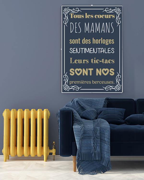"""tableau ou poster personnalisé citation """"le coeur des mamans"""""""