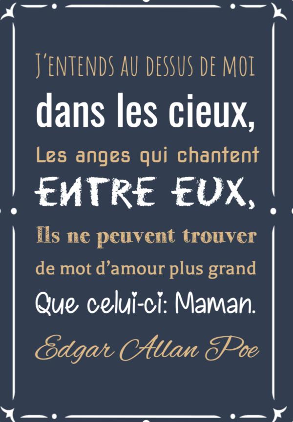 """tableau ou poster personnalisé """"les anges qui chantent"""" Edgar Allan Poe"""