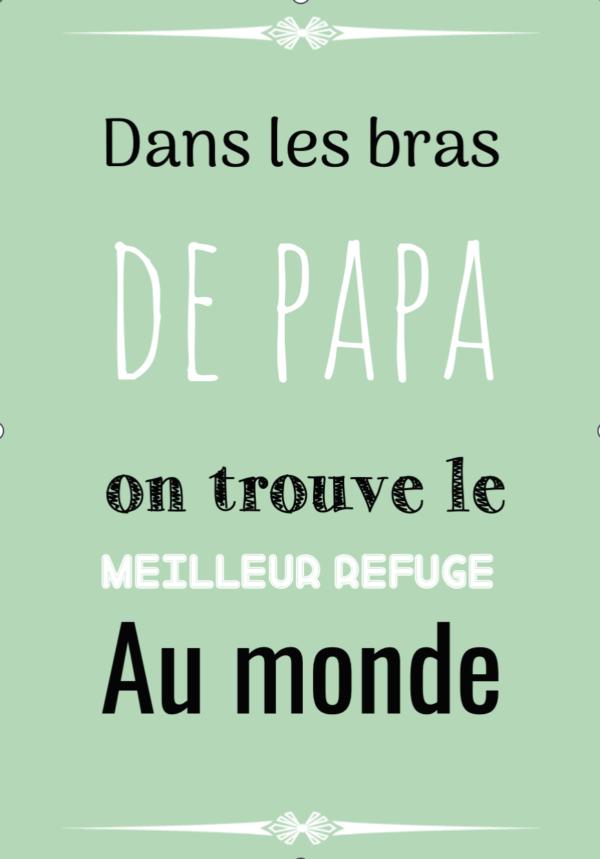 """tableau ou poster personnalisé citation """"les bras de papa"""""""
