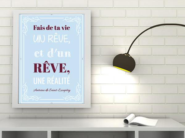 """tableau ou poster personnalisé """"un rêve"""""""