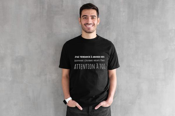 """t-shirt personnalisé homme citation """"bonnes choses"""""""