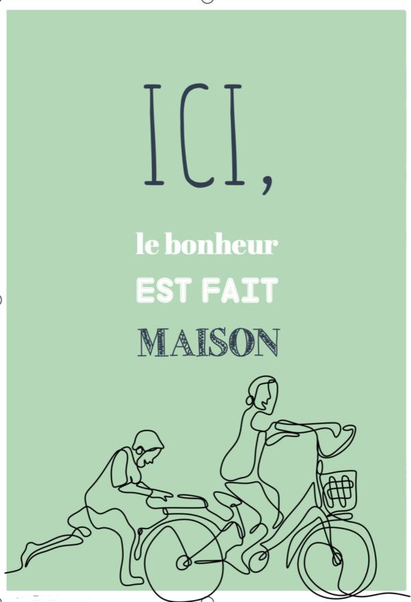 """tableau ou poster personnalisé citation """"le bonheur"""""""