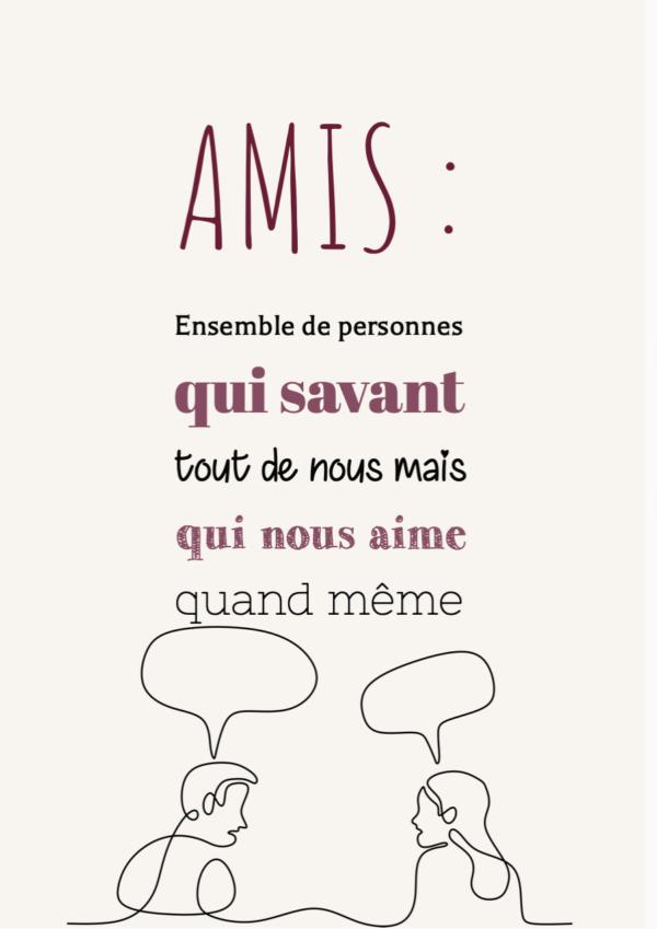 """tableau ou poster personnalisé citation """"amis"""""""