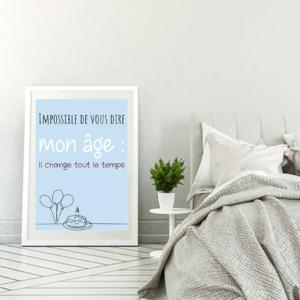 """tableau ou poster personnalisé texte d'anniversaire """"mon âge"""" d'Alphonse Allais"""