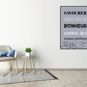 """tableau ou poster personnalisé citation """"bulle de bonheur"""""""