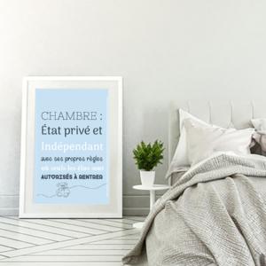 """tableau ou poster personnalisé citation """"chambre"""""""