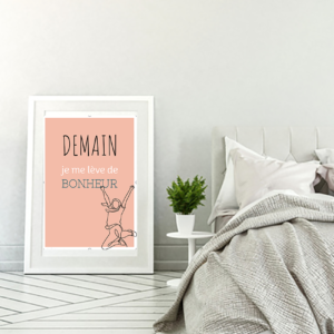 """tableau ou poster personnalisé citation """"je me lève de bonheur"""""""