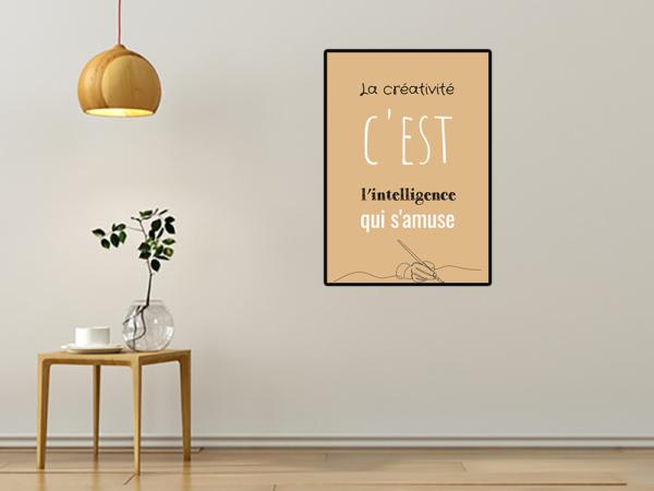 """tableau ou poster personnalisé citation """"la créativité"""""""