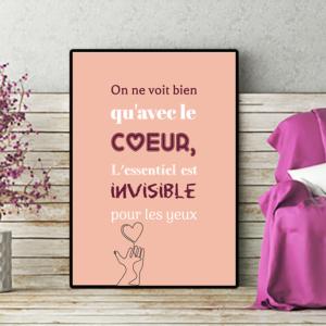 """tableau ou poster personnalisé citation """"le coeur"""""""