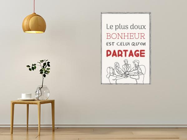 """tableau ou poster personnalisé citation """"partage"""""""