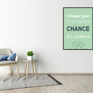 """tableau ou poster personnalisé citation """"une nouvelle chance"""""""