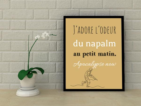 """tableau ou poster personnalisé réplique de film Apocalypse nos """" j'adore l'odeur"""""""