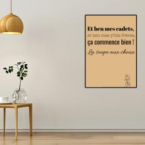 """tableau ou poster personnalisé réplique de film la soupe aux choux """"mes cadets"""""""