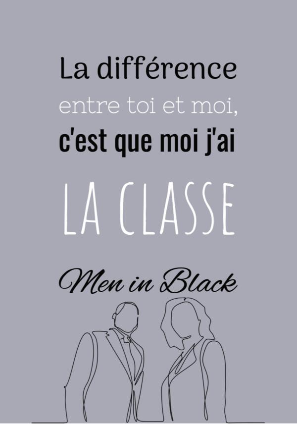 """tableau ou poster personnalisé de réplique de film men in black """"la différence entre toi et moi"""""""