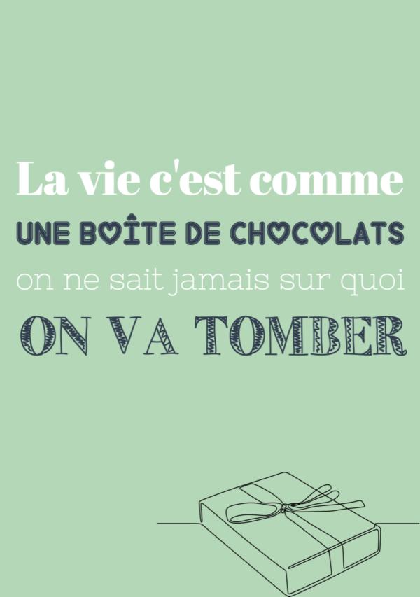 """tableau ou poster personnalisé réplique de film """"une boîte de chocolats"""" - Forrest Gump"""