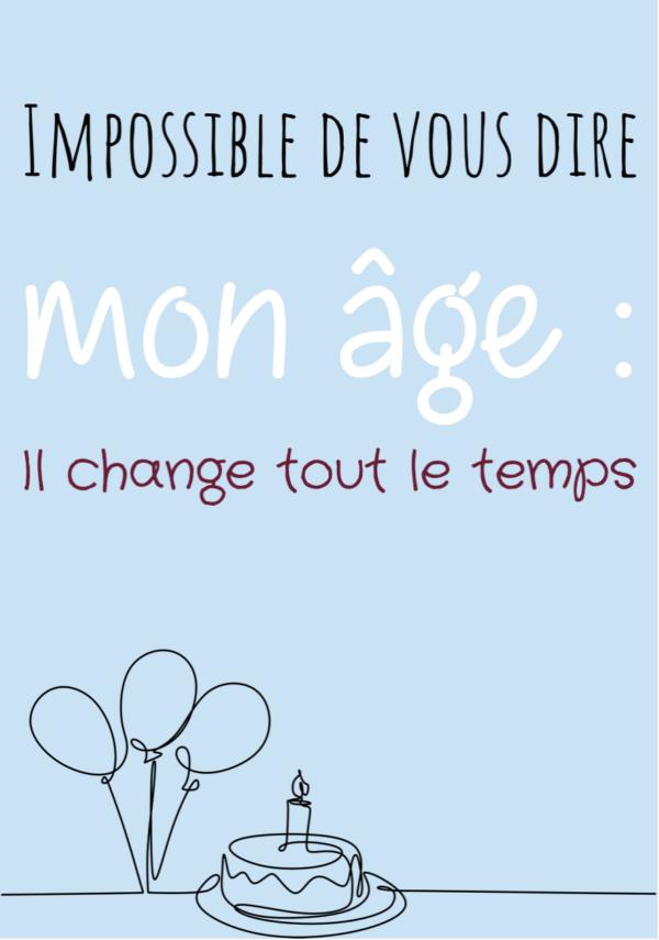 """tableau ou poster personnalise anniversaire """"mon âge"""" d'Alphonse Allais"""