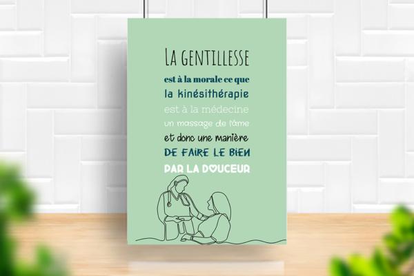 """tableau ou poster personnalisé chez le kiné """"la gentillesse"""""""
