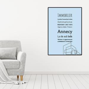 """tableau ou poster personnalisé citation """"agence immobilière"""""""
