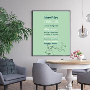 """tableau ou poster personnalisé citation """"merci nounou génial"""""""