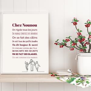 """tableau ou poster personnalisé citation """"merci nounou on rigole"""""""