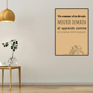 """tableau ou poster personnalisé citation """"vivre toujours"""""""