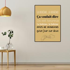 """Tableau ou poster paroles de chanson de Charles Aznavour """"la bohème"""""""