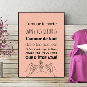 """Tableau ou poster paroles de chanson de Daniel Balavoine """"aimer est plus fort"""""""