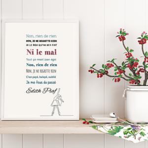 """Tableau ou poster paroles de chanson d'Edith Piaf """"non, je ne regrette rien"""""""