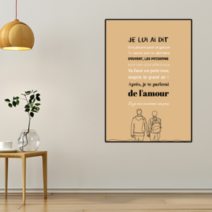 """tableau ou poster paroles de chanson Francis Cabrel """"la cabane du pêcheur"""""""