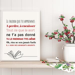 """Tableau ou poster paroles de chanson de Jean Jacques Goldman """"c'est ta chance"""""""