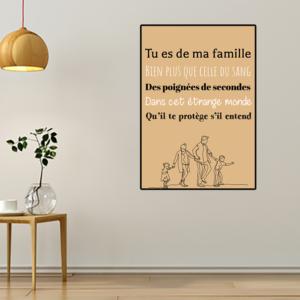 """Tableau ou poster paroles de chanson de Jean Jacques Goldman """"famille"""""""