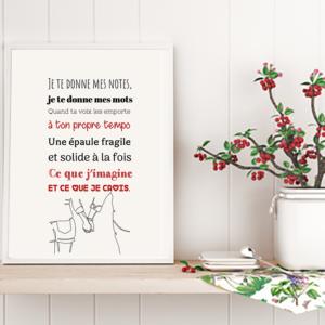 """Tableau ou poster paroles de chanson de Jean Jacques Goldman """"je te donne"""""""