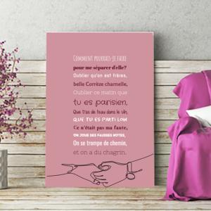 """Tableau ou poster paroles de chanson de Trois cafés gourmands """"à nos souvenirs"""""""